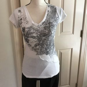 Express Tops - Express tee. White with black design. Size XS